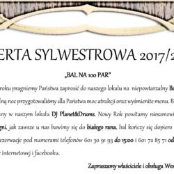 """Bal Sylwestrowy 2017/2018 Stargard Weselny Eden """"Bal na 100 par"""""""